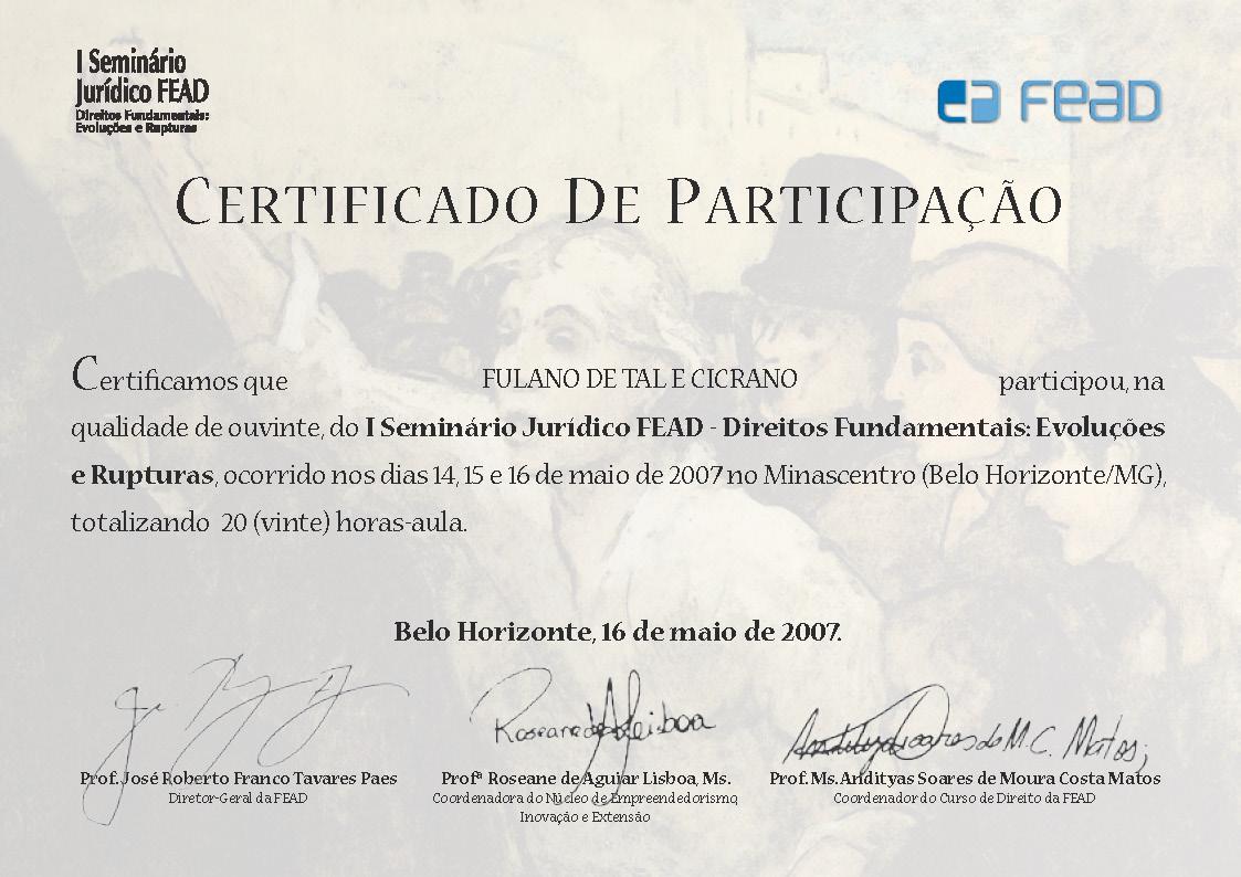 Certificado Seminário Jurídico.
