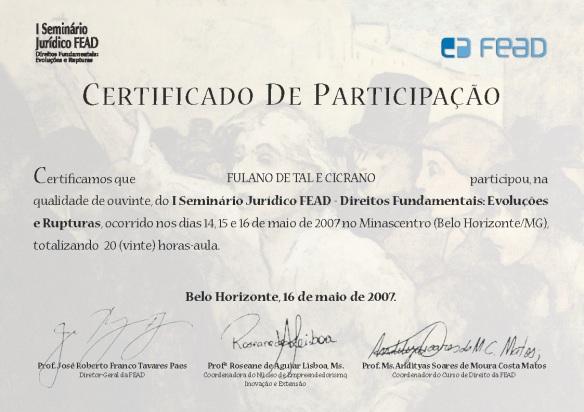 Certificado Seminário Jurídico Tomé Ferreira Design